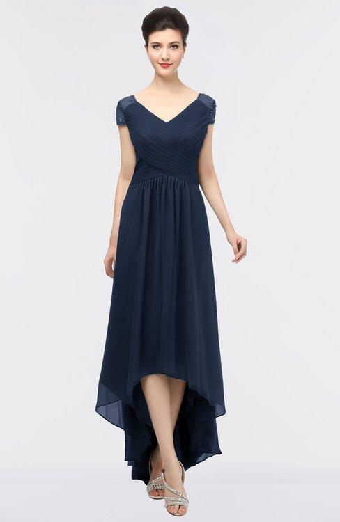 ColsBM Juliana Navy Blue Elegant V-neck Short Sleeve Zip up Appliques Bridesmaid Dresses