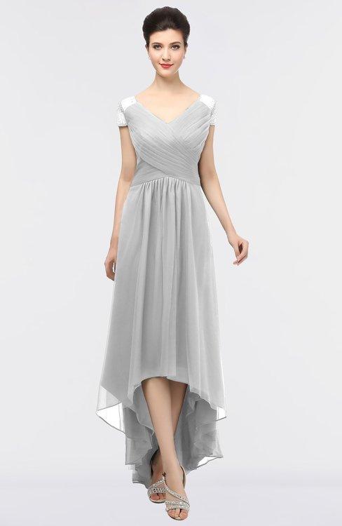 ColsBM Juliana Nimbus Cloud Elegant V-neck Short Sleeve Zip up Appliques Bridesmaid Dresses