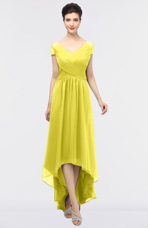ColsBM Juliana Pale Yellow Elegant V-neck Short Sleeve Zip up Appliques Bridesmaid Dresses