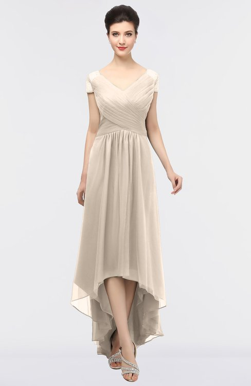 ColsBM Juliana Pastel Rose Tan Elegant V-neck Short Sleeve Zip up Appliques Bridesmaid Dresses