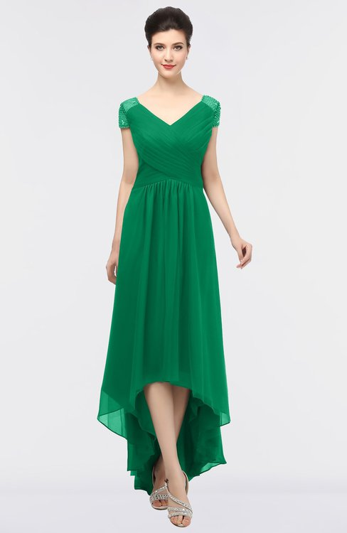 ColsBM Juliana Pepper Green Elegant V-neck Short Sleeve Zip up Appliques Bridesmaid Dresses
