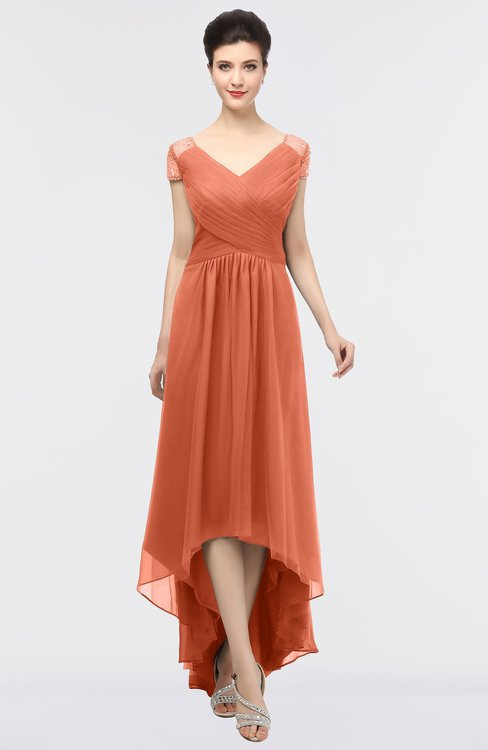 ColsBM Juliana Persimmon Elegant V-neck Short Sleeve Zip up Appliques Bridesmaid Dresses