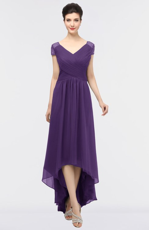 ColsBM Juliana Petunia Elegant V-neck Short Sleeve Zip up Appliques Bridesmaid Dresses