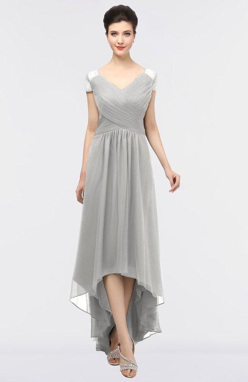 ColsBM Juliana Platinum Elegant V-neck Short Sleeve Zip up Appliques Bridesmaid Dresses