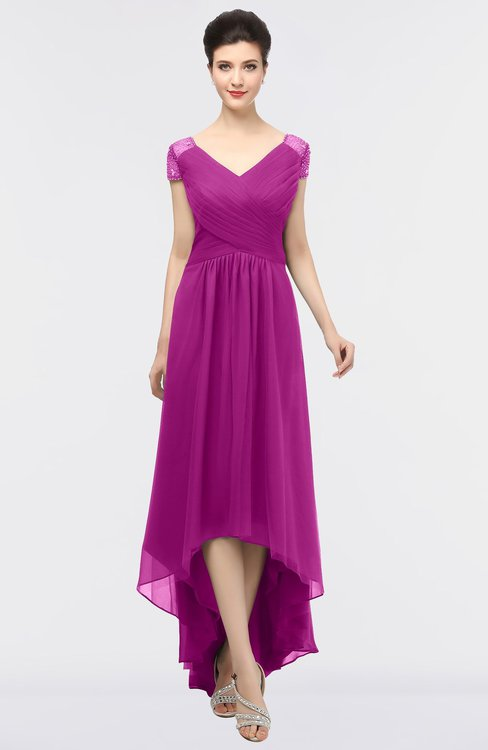 ColsBM Juliana Raspberry Elegant V-neck Short Sleeve Zip up Appliques Bridesmaid Dresses