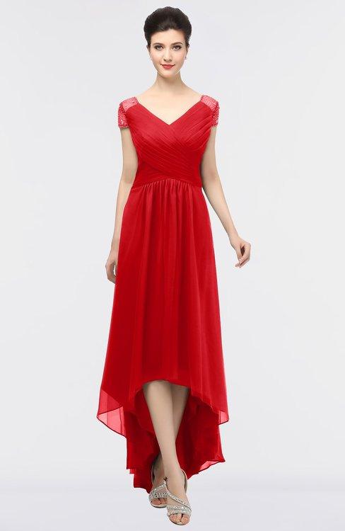 ColsBM Juliana Red Elegant V-neck Short Sleeve Zip up Appliques Bridesmaid Dresses