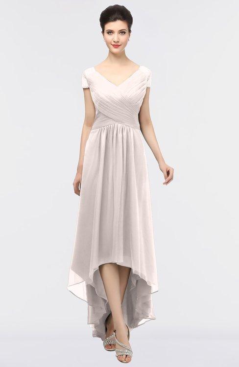 ColsBM Juliana Rosewater Pink Elegant V-neck Short Sleeve Zip up Appliques Bridesmaid Dresses