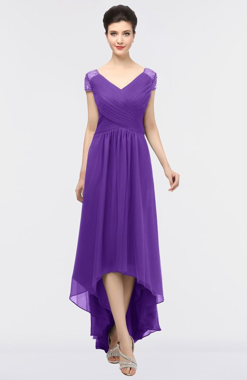 ColsBM Juliana Royal Purple Elegant V-neck Short Sleeve Zip up Appliques Bridesmaid Dresses