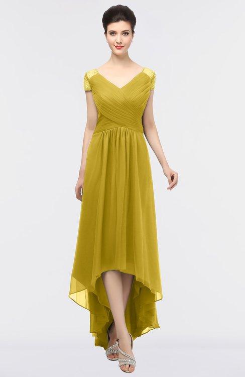 ColsBM Juliana Sauterne Elegant V-neck Short Sleeve Zip up Appliques Bridesmaid Dresses