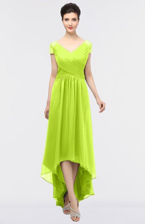 ColsBM Juliana Sharp Green Elegant V-neck Short Sleeve Zip up Appliques Bridesmaid Dresses