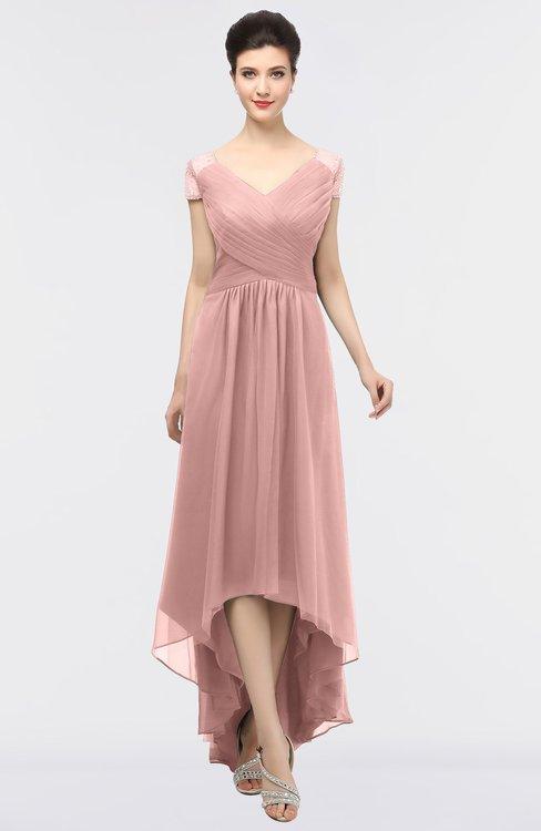 ColsBM Juliana Silver Pink Elegant V-neck Short Sleeve Zip up Appliques Bridesmaid Dresses