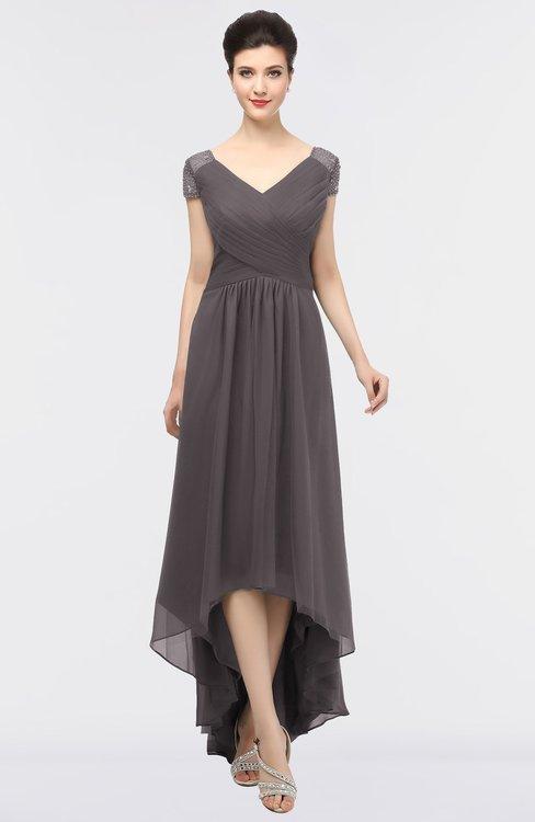 ColsBM Juliana Sparrow Elegant V-neck Short Sleeve Zip up Appliques Bridesmaid Dresses