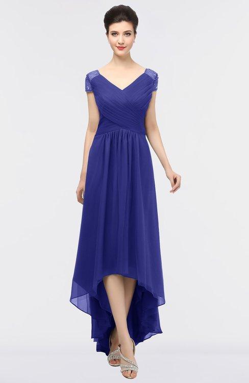 ColsBM Juliana Spectrum Blue Elegant V-neck Short Sleeve Zip up Appliques Bridesmaid Dresses