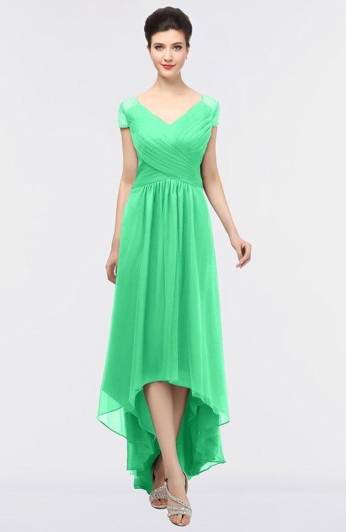 ColsBM Juliana Spring Bud Elegant V-neck Short Sleeve Zip up Appliques Bridesmaid Dresses