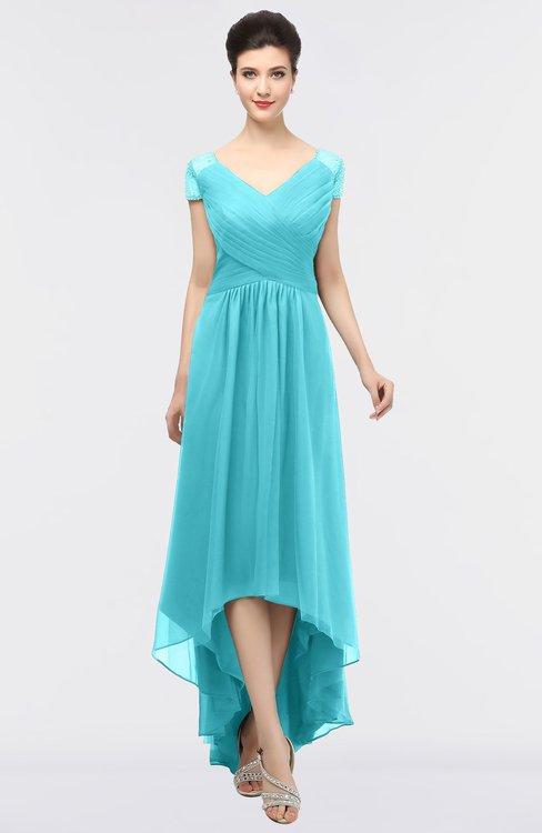 ColsBM Juliana Turquoise Elegant V-neck Short Sleeve Zip up Appliques Bridesmaid Dresses