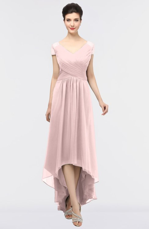 ColsBM Juliana Veiled Rose Elegant V-neck Short Sleeve Zip up Appliques Bridesmaid Dresses