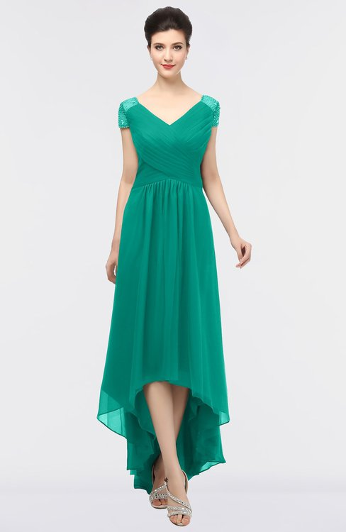 ColsBM Juliana Viridian Green Elegant V-neck Short Sleeve Zip up Appliques Bridesmaid Dresses