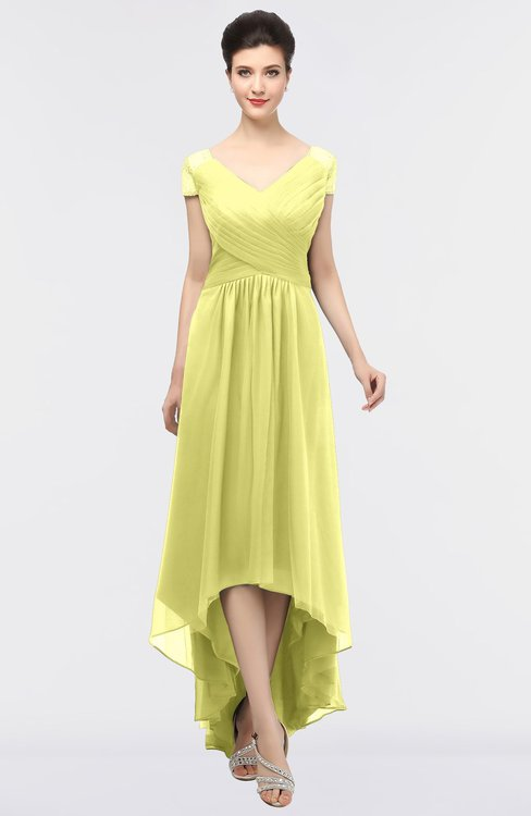 ColsBM Juliana Wax Yellow Elegant V-neck Short Sleeve Zip up Appliques Bridesmaid Dresses