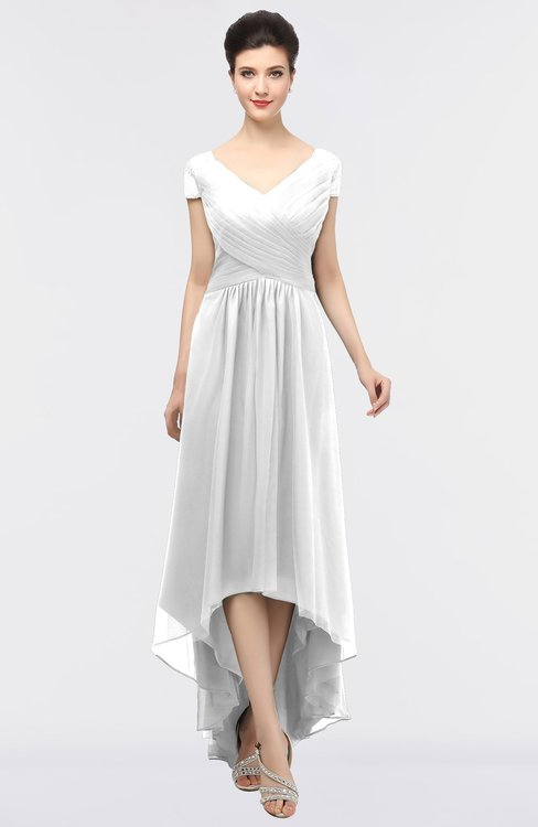 ColsBM Juliana White Elegant V-neck Short Sleeve Zip up Appliques Bridesmaid Dresses