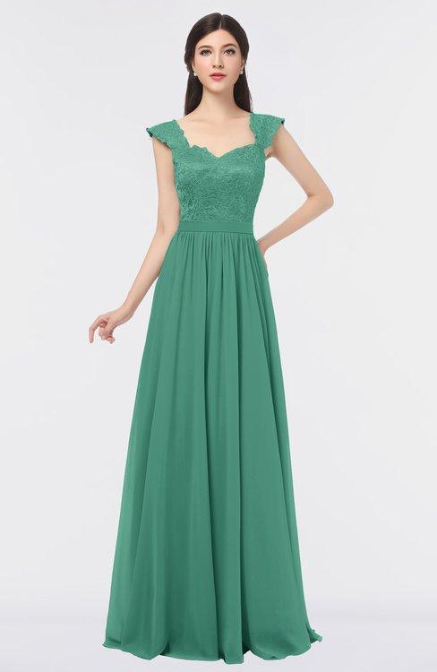 ColsBM Heidi Beryl Green Elegant A-line Square Sleeveless Lace Bridesmaid Dresses
