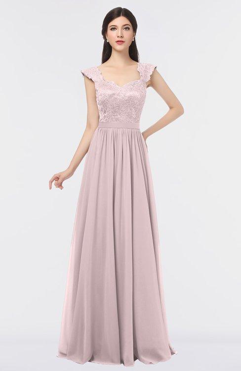 ColsBM Heidi Blush Elegant A-line Square Sleeveless Lace Bridesmaid Dresses