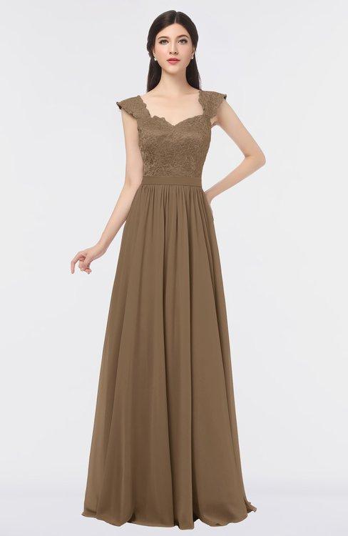 ColsBM Heidi Bronze Brown Elegant A-line Square Sleeveless Lace Bridesmaid Dresses
