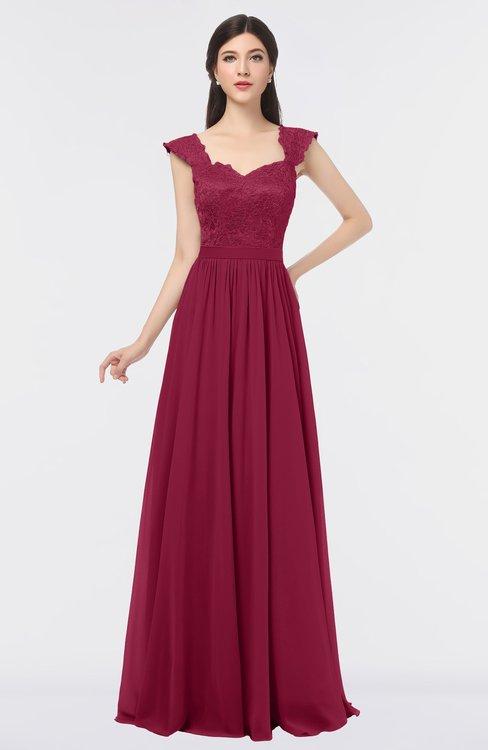 ColsBM Heidi Burgundy Elegant A-line Square Sleeveless Lace Bridesmaid Dresses