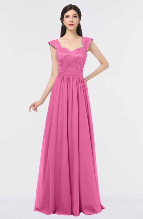 ColsBM Heidi Carnation Pink Elegant A-line Square Sleeveless Lace Bridesmaid Dresses