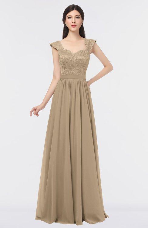 ColsBM Heidi Champagne Elegant A-line Square Sleeveless Lace Bridesmaid Dresses