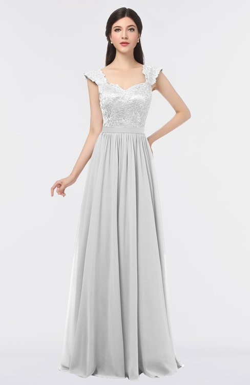 ColsBM Heidi Cloud White Elegant A-line Square Sleeveless Lace Bridesmaid Dresses