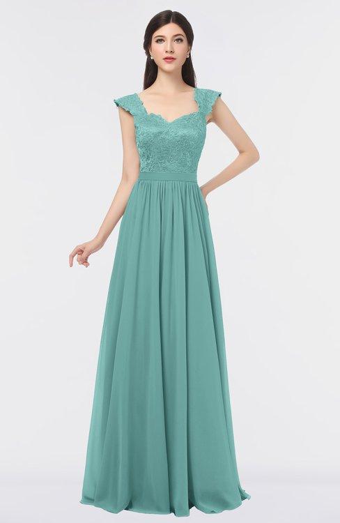 ColsBM Heidi Eggshell Blue Elegant A-line Square Sleeveless Lace Bridesmaid Dresses