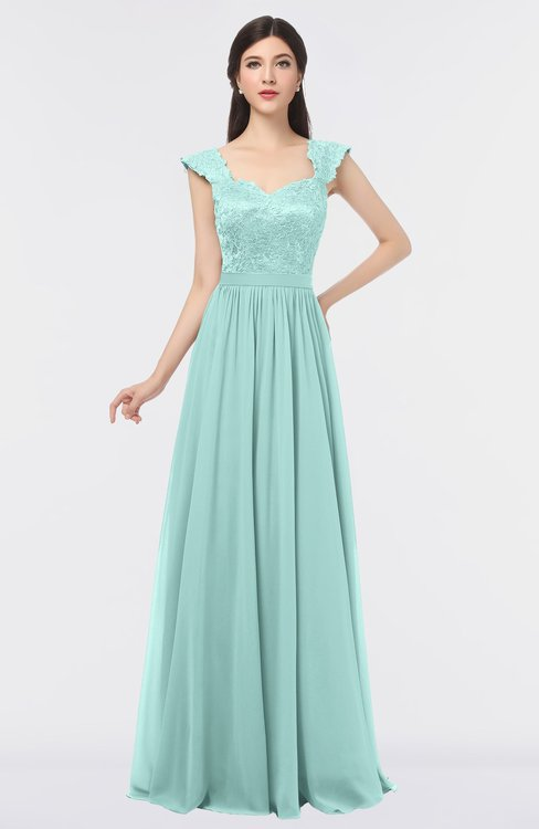 ColsBM Heidi Fair Aqua Elegant A-line Square Sleeveless Lace Bridesmaid Dresses