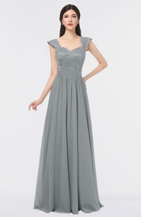 ColsBM Heidi Frost Grey Elegant A-line Square Sleeveless Lace Bridesmaid Dresses