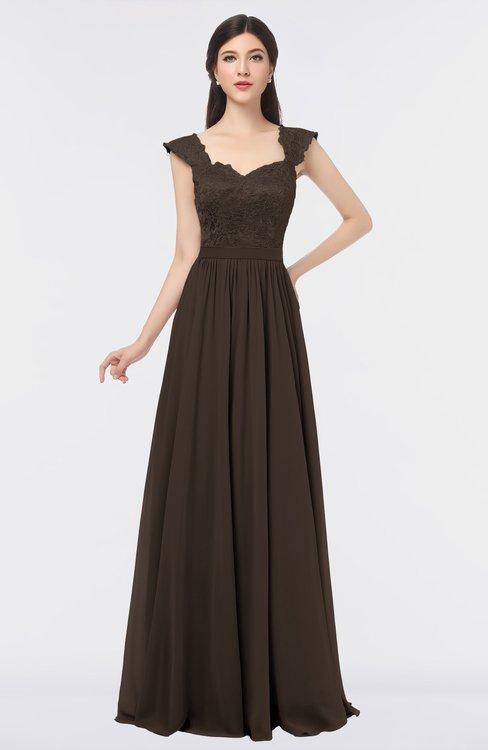 ColsBM Heidi Fudge Brown Elegant A-line Square Sleeveless Lace Bridesmaid Dresses