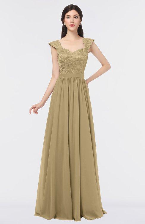 ColsBM Heidi Gold Elegant A-line Square Sleeveless Lace Bridesmaid Dresses