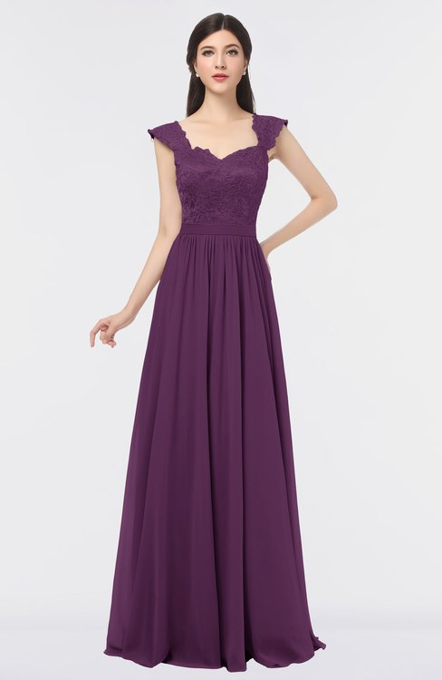 ColsBM Heidi Grape Juice Elegant A-line Square Sleeveless Lace Bridesmaid Dresses
