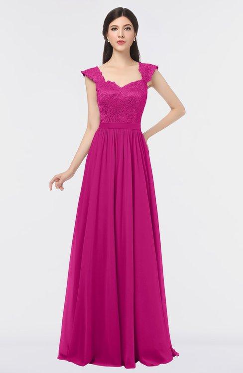 ColsBM Heidi Hot Pink Elegant A-line Square Sleeveless Lace Bridesmaid Dresses