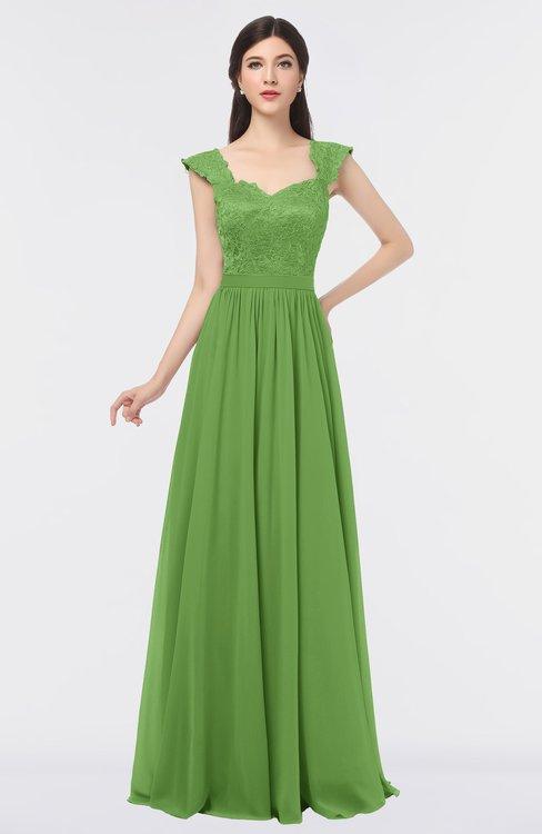 ColsBM Heidi Kiwi Green Elegant A-line Square Sleeveless Lace Bridesmaid Dresses