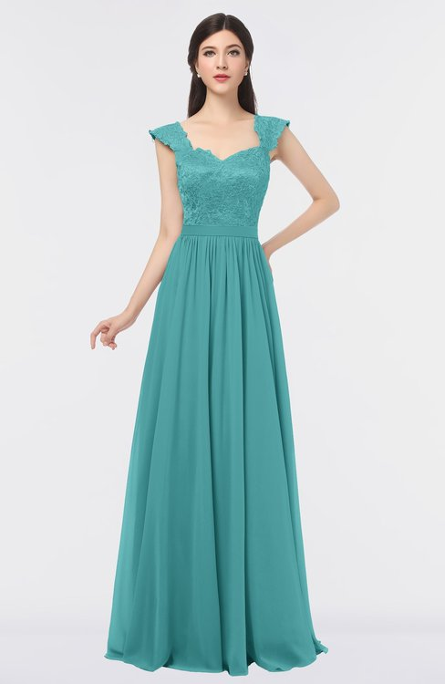 ColsBM Heidi Lake Blue Elegant A-line Square Sleeveless Lace Bridesmaid Dresses