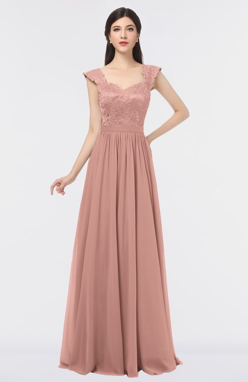 ColsBM Heidi Light Coral Elegant A-line Square Sleeveless Lace Bridesmaid Dresses