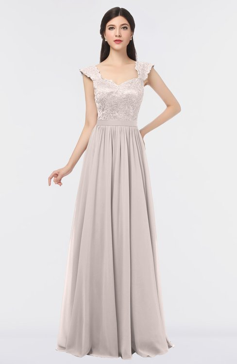 ColsBM Heidi Light Pink Elegant A-line Square Sleeveless Lace Bridesmaid Dresses