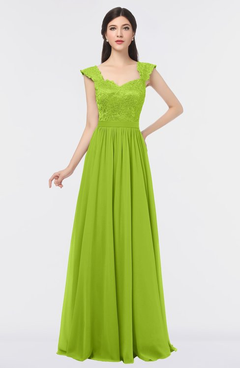 ColsBM Heidi Lime Green Elegant A-line Square Sleeveless Lace Bridesmaid Dresses
