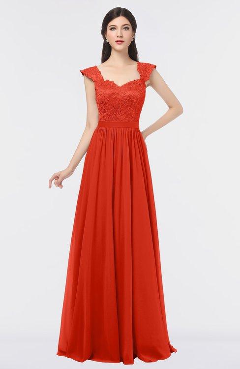 ColsBM Heidi Mandarin Red Elegant A-line Square Sleeveless Lace Bridesmaid Dresses