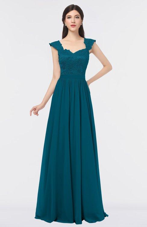 ColsBM Heidi Midnight Blue Elegant A-line Square Sleeveless Lace Bridesmaid Dresses