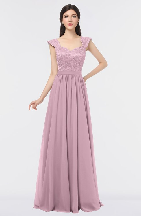 ColsBM Heidi Mist Pink Elegant A-line Square Sleeveless Lace Bridesmaid Dresses