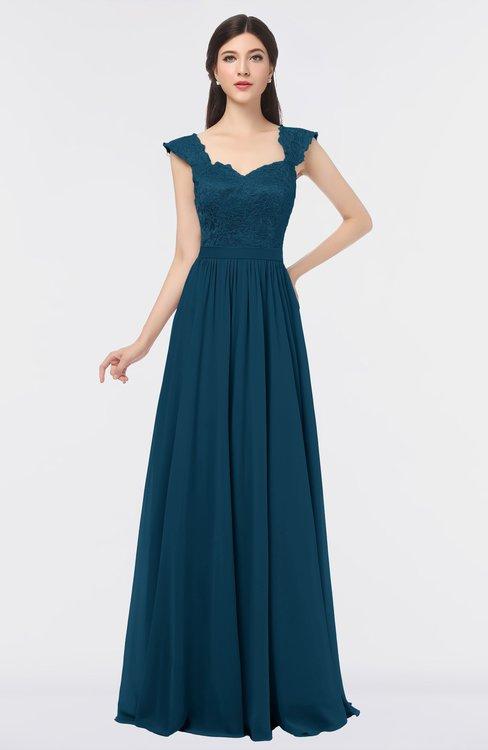 ColsBM Heidi Moroccan Blue Elegant A-line Square Sleeveless Lace Bridesmaid Dresses