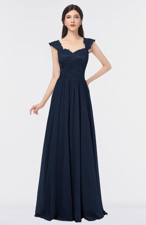 ColsBM Heidi Navy Blue Elegant A-line Square Sleeveless Lace Bridesmaid Dresses