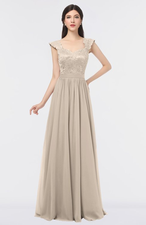 ColsBM Heidi Pastel Rose Tan Elegant A-line Square Sleeveless Lace Bridesmaid Dresses