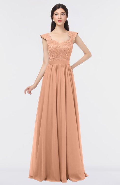 ColsBM Heidi Peach Nectar Elegant A-line Square Sleeveless Lace Bridesmaid Dresses