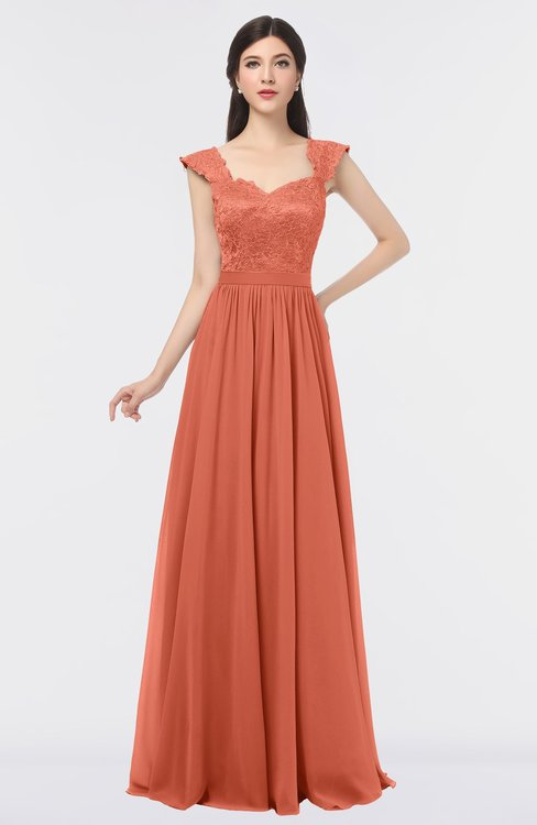 ColsBM Heidi Persimmon Orange Elegant A-line Square Sleeveless Lace Bridesmaid Dresses